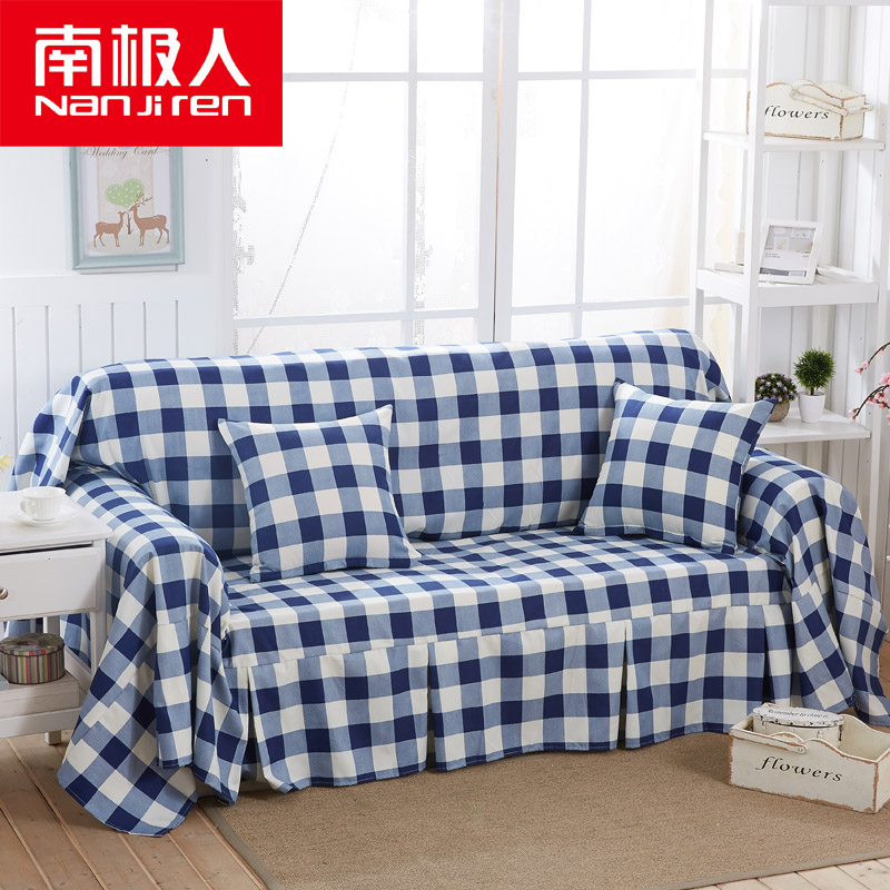 Blue plaid sofa slipcover towel full cover slipcover sofa cover the whole shop single and double sofa cushion garden sofa small fresh tin Set