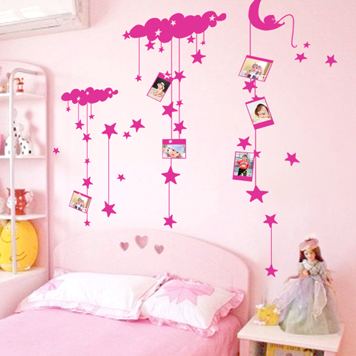 Blue rui removable wall stickers romantic starry cute cartoon children's room bedroom bedside photo stickers
