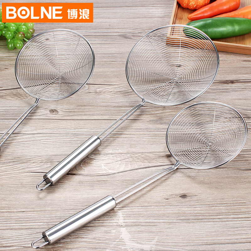 Bo lang stainless steel kitchen spoon fishing line leak large mesh colander strainer spoon spicy fried lo mein noodles fishing