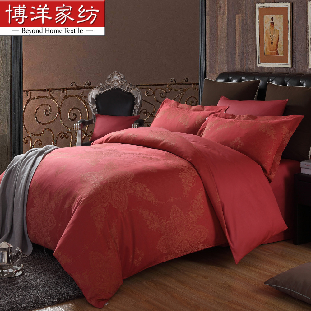 Bo yang textile wedding jacquard bedding wedding wedding quilt cotton bed linen family of four