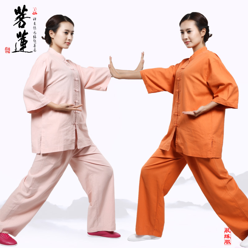 Bodhisattva lotus cotton linen clothes lay meditation yoga clothes suit female models chinese style tai chi cotton chinese style tai chi clothing