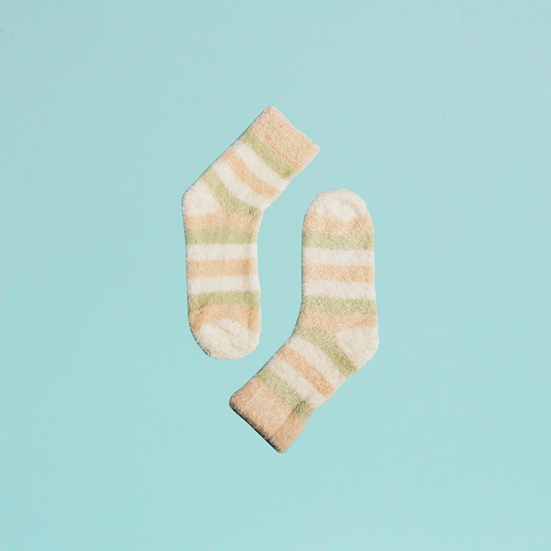 Body. ing macarons tricolor stripes ms. fall and winter cute cartoon plush socks