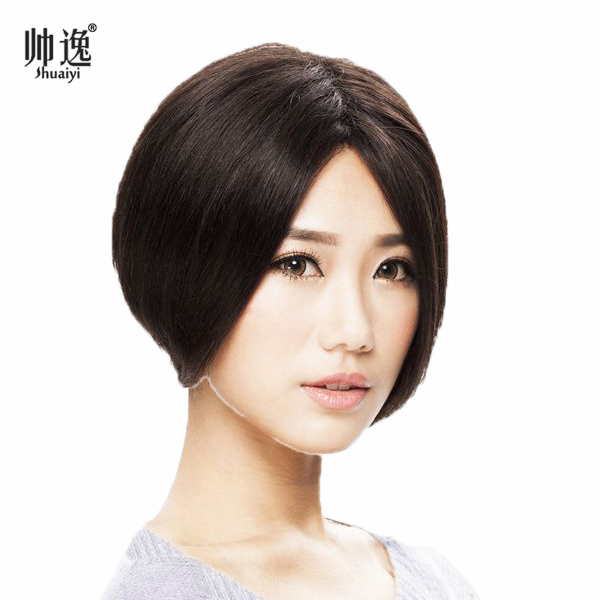 Book female high simulation big scalp hair wig full hand woven needle delivery whole human hair carve realistic short straight hair