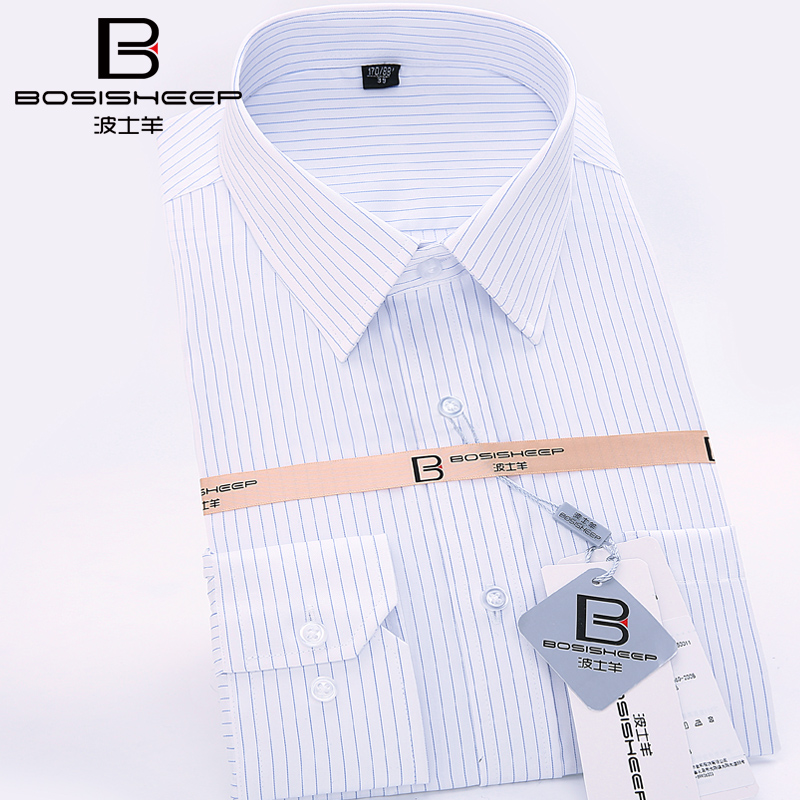 Bosisheep/boss sheep autumn new thin blue stripe long sleeve cotton shirt iron professional dress shirt dress