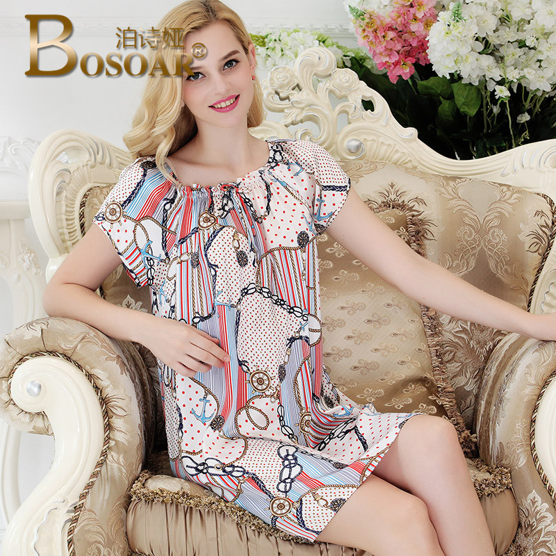 Bosoar printed silk nightdress fashion temperament elegant and comfortable summer new real silk pajamas tracksuit