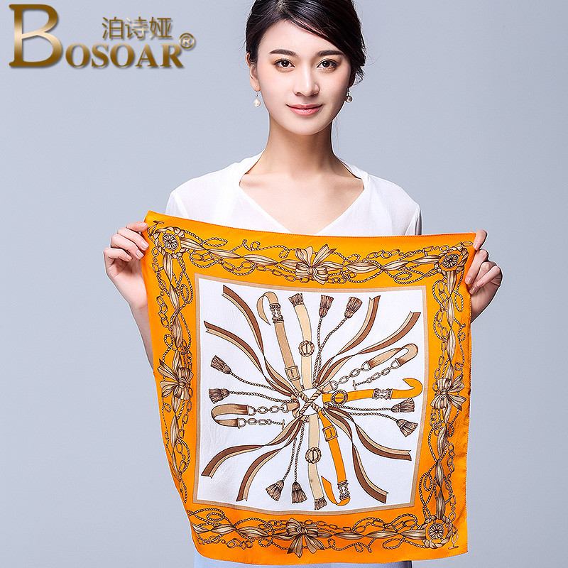 Bosoar2016 fashion simple and elegant wild silk scarf silk printed scarves ms. two with a small square