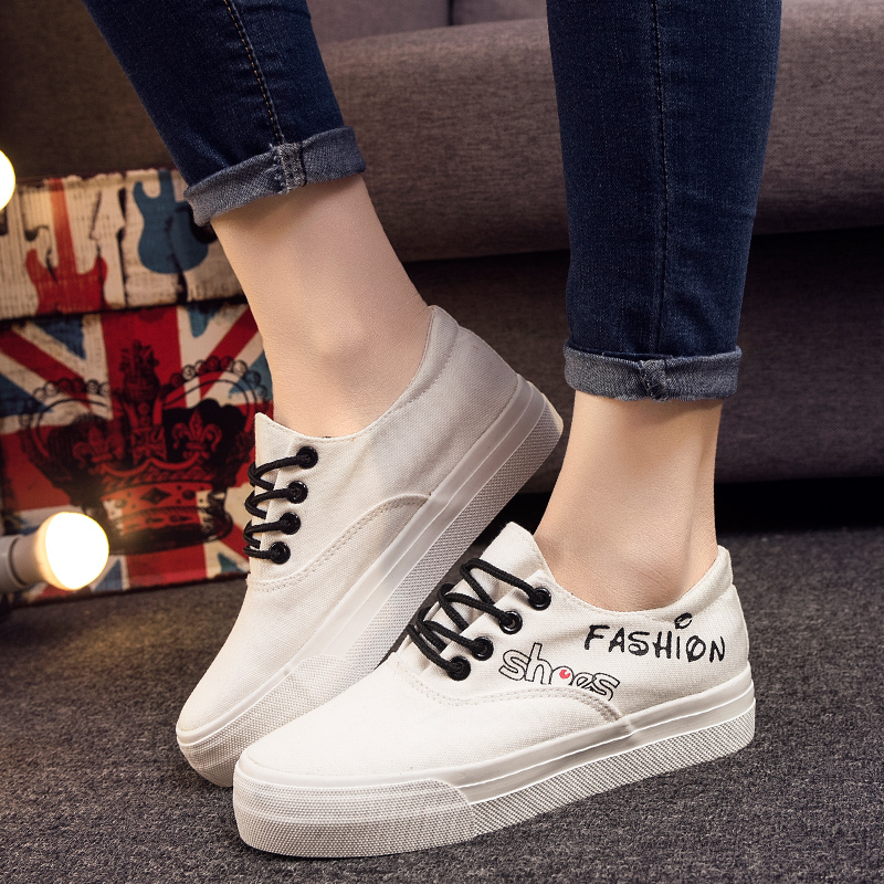 Bottomed canvas shoes women summer loose cake korean version of casual shoes white shoes women shoes student shoes white shoes with flat shoes