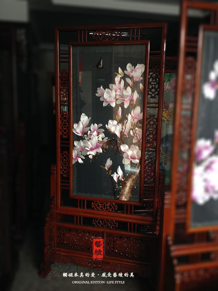 Boutique magnolia flowers classical carved floor screen sided embroidery boutique suzhou embroidery finished embroidery handmade silk embroidery art