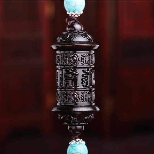 Boutique natural ebony carving mantra of tibetan prayer wheel car car interior ornaments best gifts