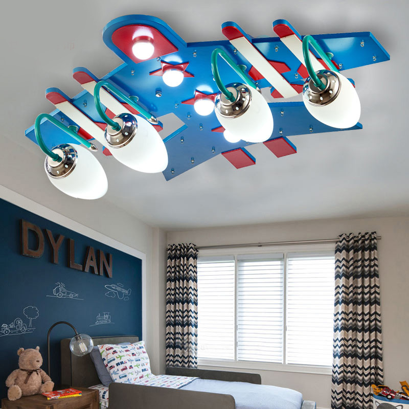 Boys and girls bedroom children's room lamp ceiling lamp eye lamp led creative card through the room lamp light aircraft