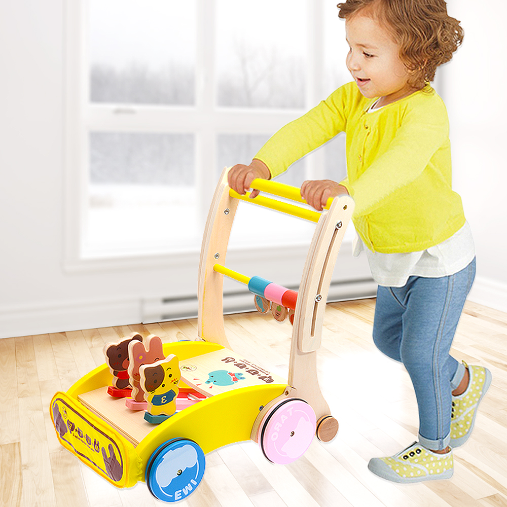 Boys and girls pushcart woodiness folding baby walker baby walker can speed 7-18 months rollover