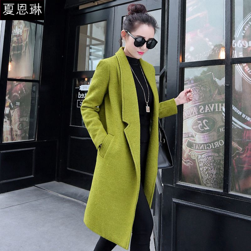 Brand women's european grand prix 2016 korean version of the fall fashion lapel solid color long section was thin woolen coat solid color