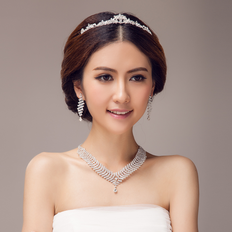 Bridal jewelry bridal necklace set bridal crown necklace earrings bridal accessories combination HGXL13