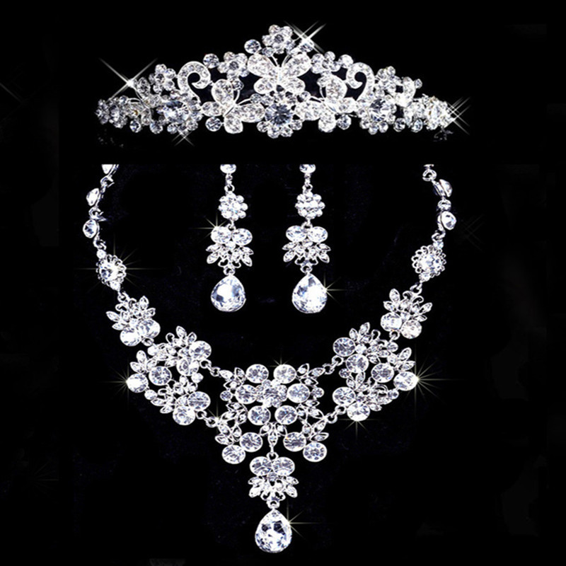 Bridal jewelry bridal necklace set bridal crown necklace earrings bridal accessories combination