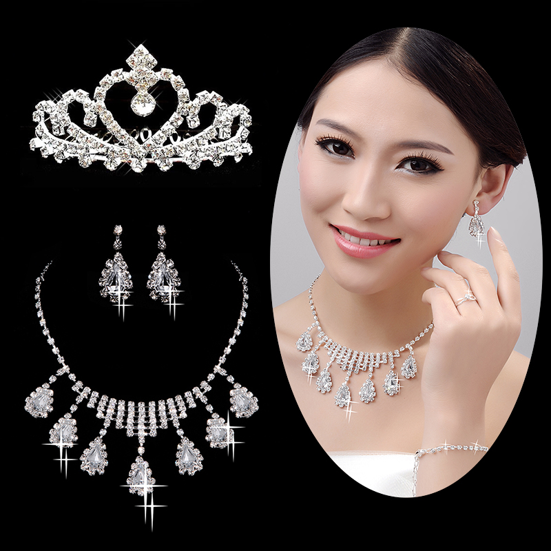 Bride wedding dress accessories rhinestone crown tiara necklace earrings five piece fitted wedding accessories yarn products