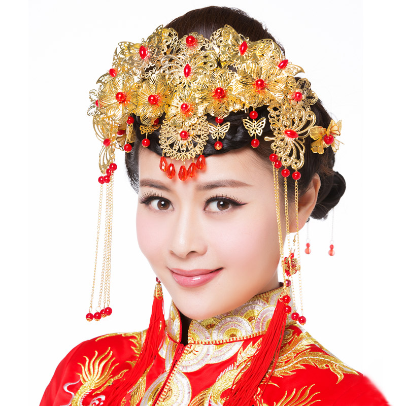 Bride wedding suit red chinese cheongsam dress costume headdress hair accessories wedding dress frontlet tassel step shake