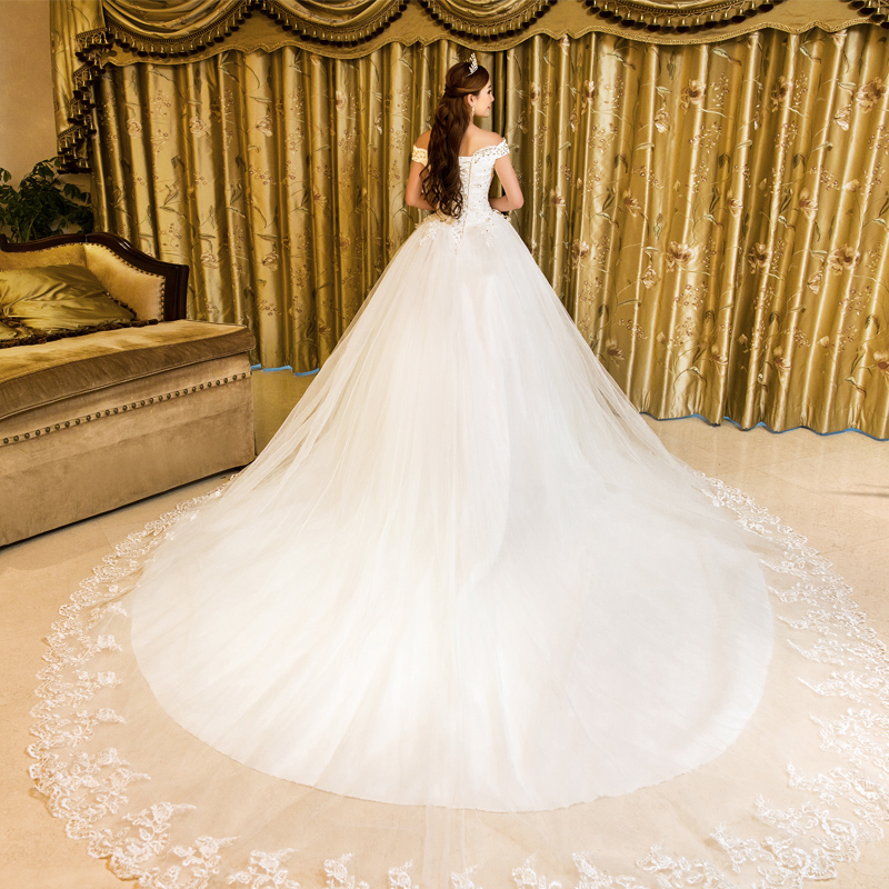 Bride wedding wedding dress 2016 new autumn and winter fashion korean word shoulder was thin minimalist big yards long tail