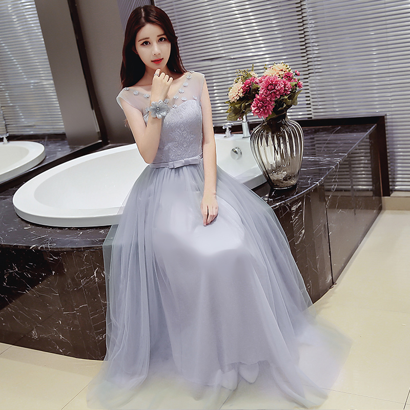Bridesmaid dress long section 2016 new autumn gray dress korean bridesmaid sister group bridesmaid dress sister skirt dress banquet evening dress