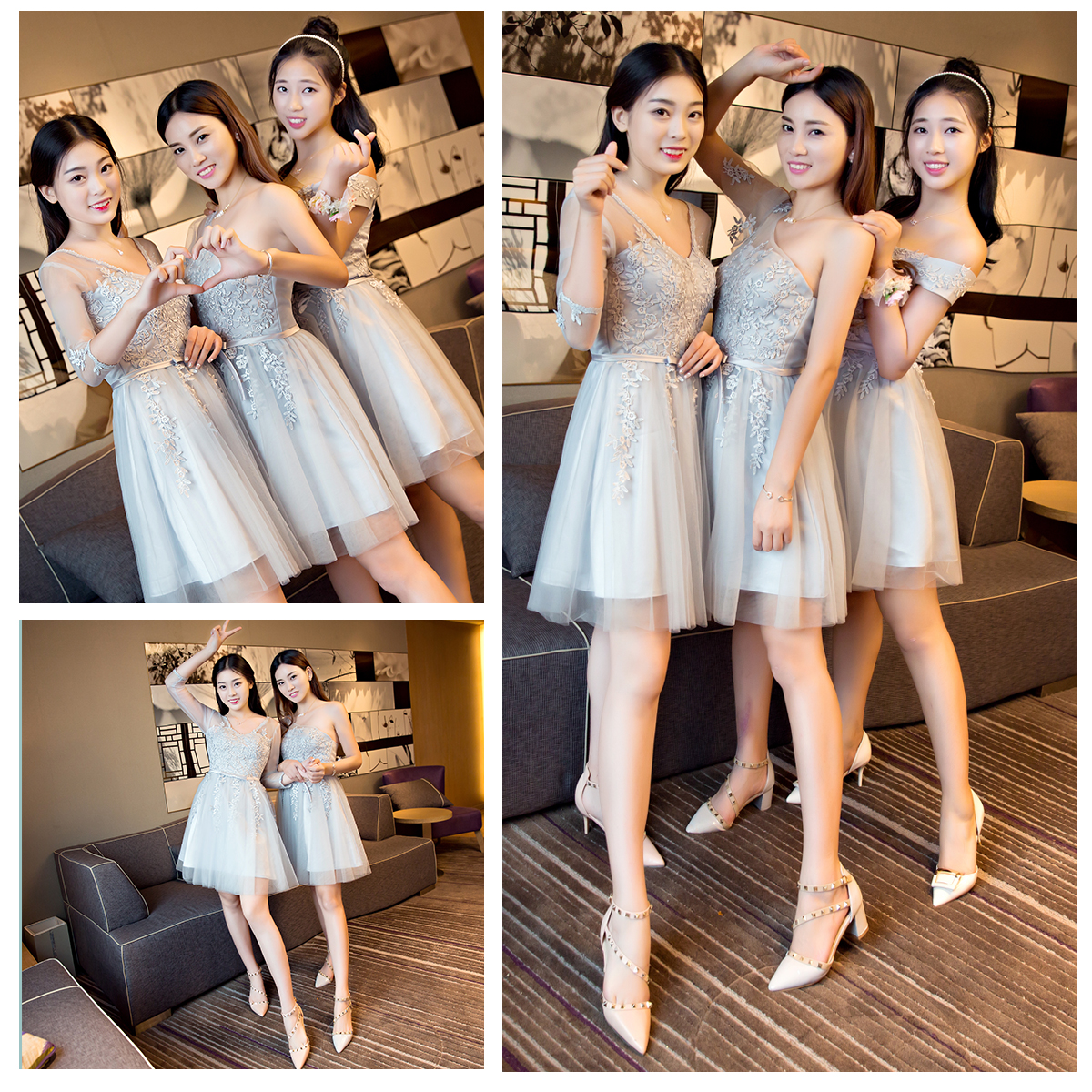 Bridesmaid dress short paragraph sister skirt 2016 new winter word shoulder was thin gray small ceremony dress toast clothing long sleeve