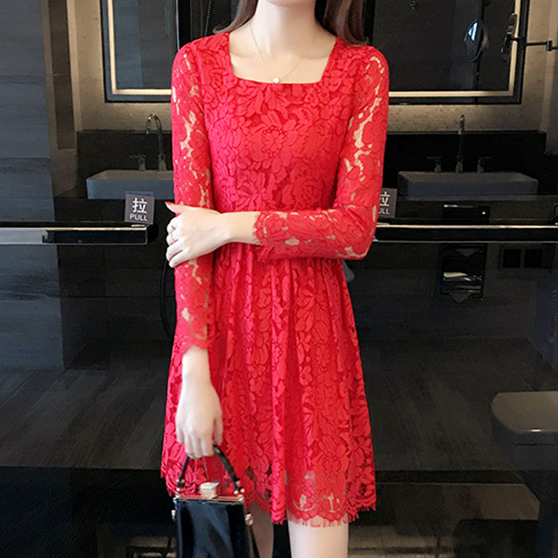 Bridesmaid dresses 2016 new autumn lace short section of small red dress birthday wedding dress the bride toast clothing
