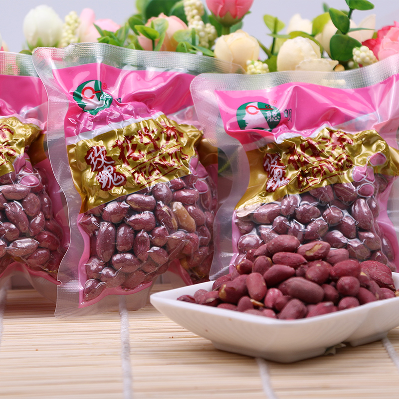 Bright rose peanuts sakana zero food 280g roasted nuts shelled redskins peanuts kernels