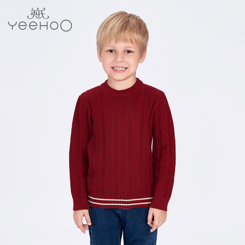 Britain's baby boy sweater knitted sweater hedging sweater male baby round neck autumn 163079 new goods