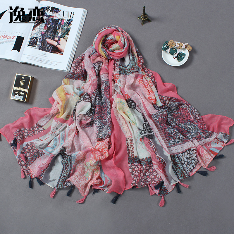 British foreign trade of the original single spring and autumn scarf female shawl european and american style abstract silk towel beach towel cotton summer long paragraph scarf