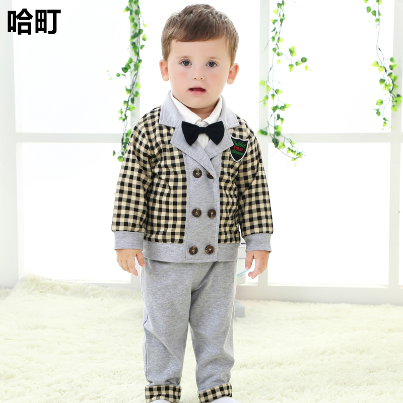 British gentleman handsome suit infant clothing for men and women 1-2-year-old 0-1-year-old male baby suit children clothing baby spring