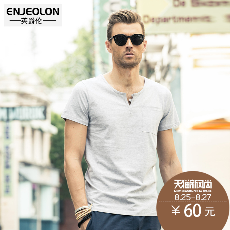 British grand london 2016 summer new fashion brand men's v-neck t-shirt slim short sleeve pure color half sleeve henley collar