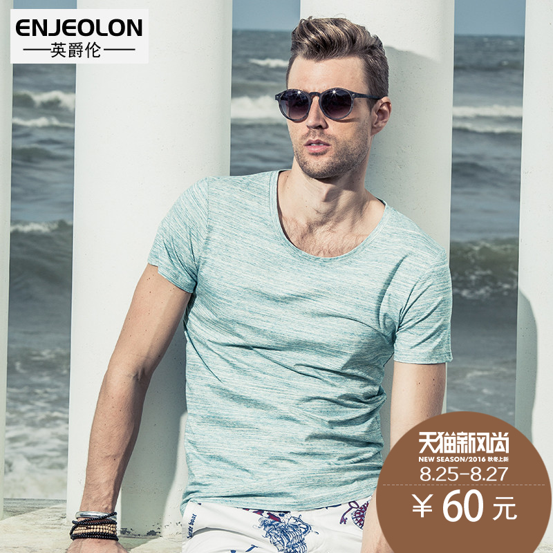 British grand london fashion brand slim round neck short sleeve solid color half sleeve shirt slim england men's t-shirt youth