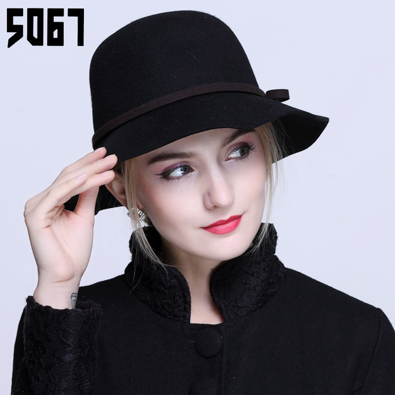 British retro wool fedora hat autumn and winter hat female tide leisure wild bow dome fisherman hat bucket hats