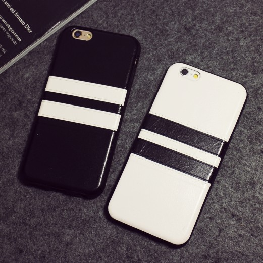 British style minimalist black and white stripes iphone6/4.7 plus phone shell mobile phone shell apple lovers retro soft leather
