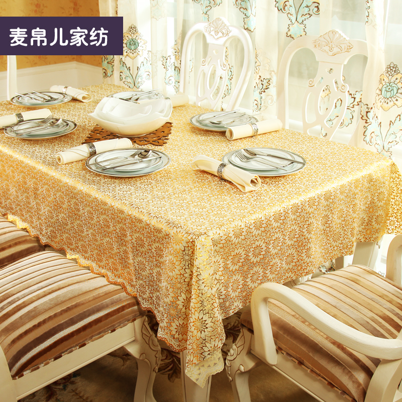 Bronzing tablecloth minimalist modern european insulation waterproof grease disposable pvc tablecloth table cloth pad custom