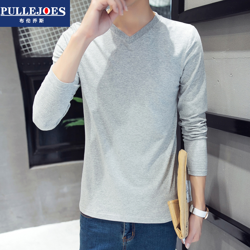 Bry conchos summer long sleeve t-shirt men jixin ling solid color cotton v-neck shirt bottoming qiuyi slim compassionate youth