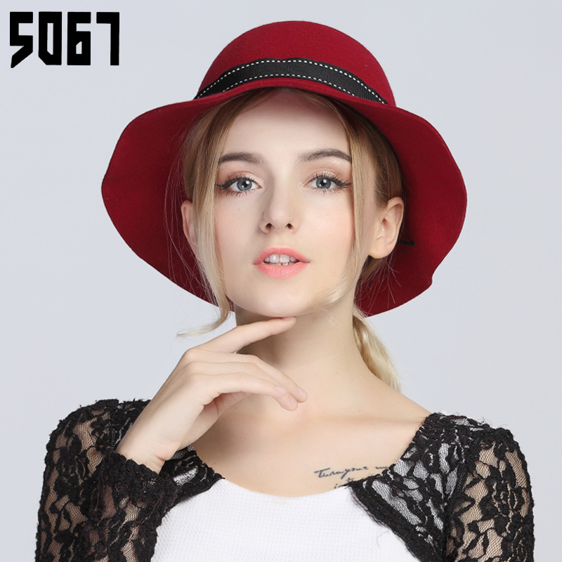 fe49d35aa8d Get Quotations · Bucket hats hat female autumn and winter elegant  simplicity wild flowers sweet wide brimmed hat wool