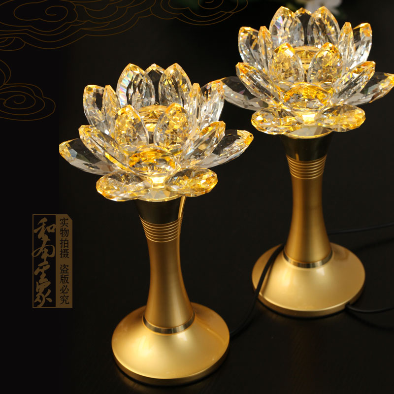 Buddhist supplies fodeng taiwan led lights yellow copper crystal lotus lamp crystal lamp for light fodeng/trumpet one pair