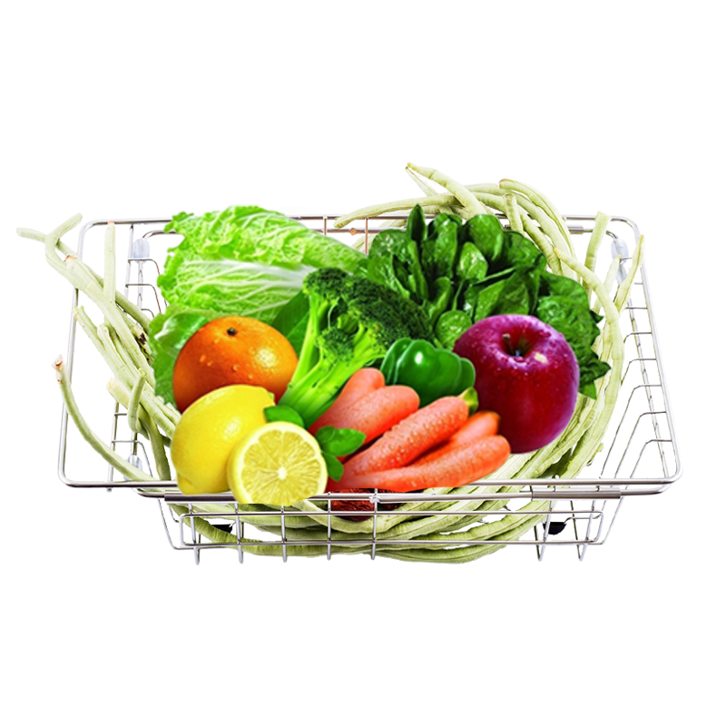Burley home kitchen supplies telescopic vegetables drain basket fruit plate 304 stainless steel washing water filter basket Sink