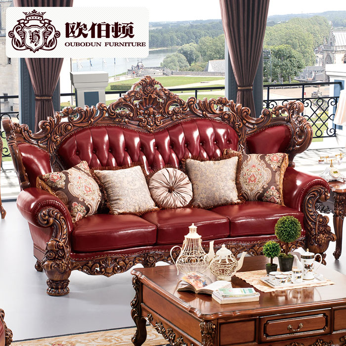 Burton europe 123 european leather sofa combination of american all wood first layer of leather sofa big house villa