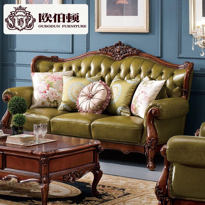 Burton europe 123 new european leather sofa combination of american wood sofa big house living room furniture
