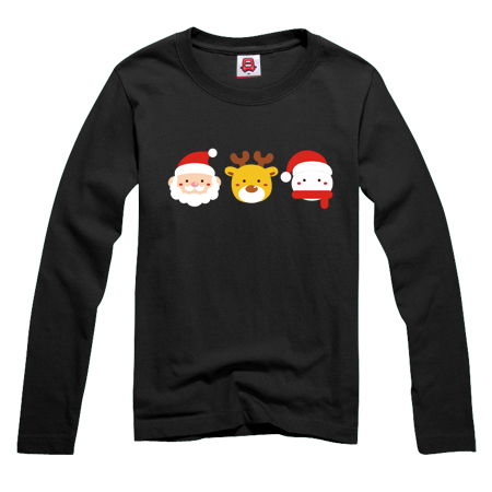 Bus dream spring and autumn new korean version of the cartoon santa claus cartoon printed long sleeve t-shirt yncp 055