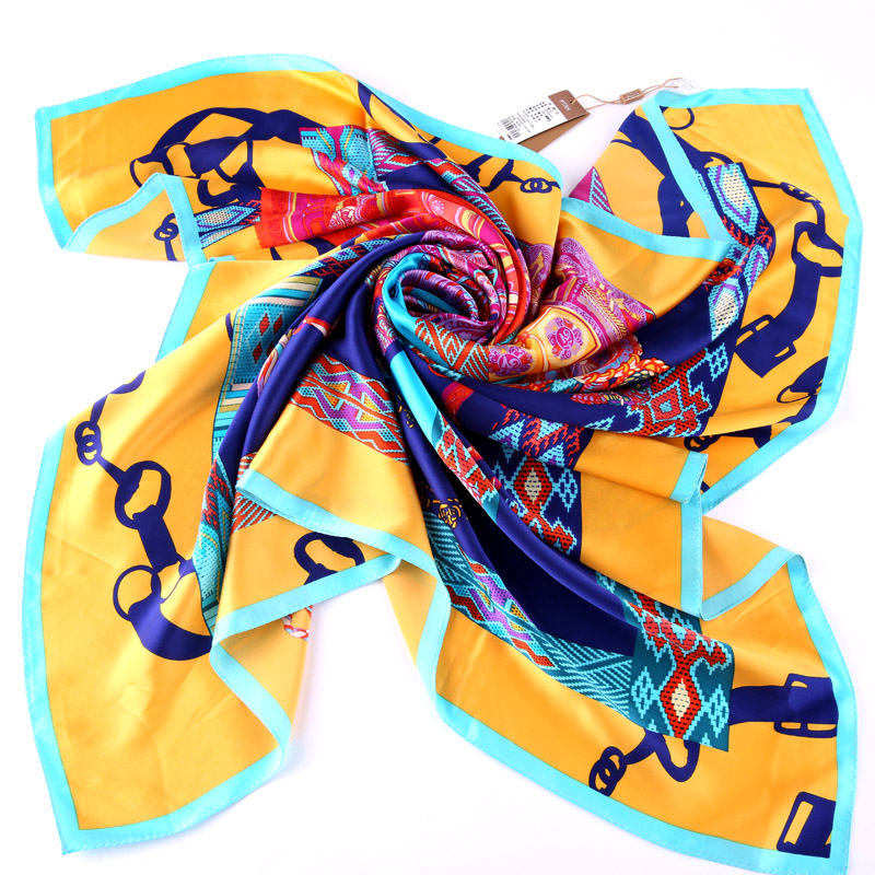 Buta 100% silk scarf female silk scarf spring and summer air conditioning scarf draped shoulder chain large square scarf