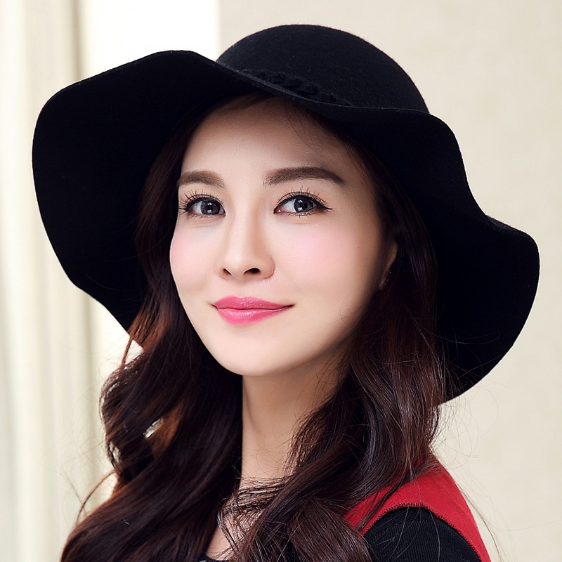Buta new wool fedora hat autumn and winter hat female korean large brimmed hat wool hat female winter hat wool fedora hat