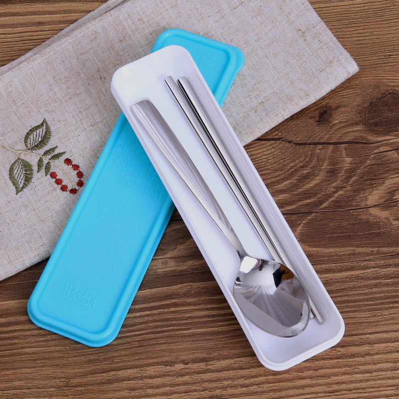Buy 2 sets free shipping 304 stainless steel tableware portable chopsticks spoon stainless steel chopsticks spoon suit travel Tableware