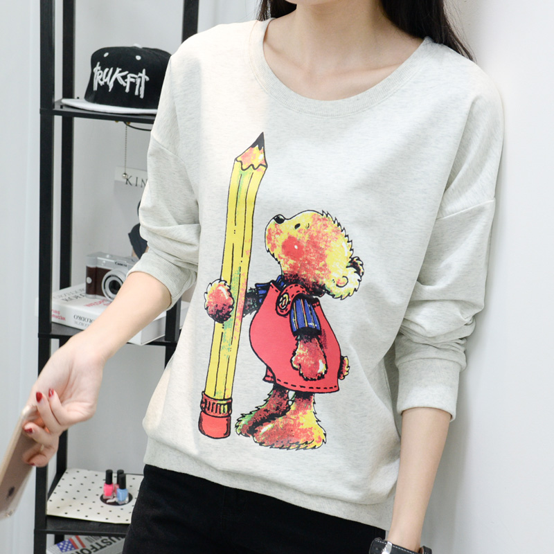 Buy one get one hedging loose sweater female autumn long sleeve korean version of the cartoon printing hedging sweater coat female coat