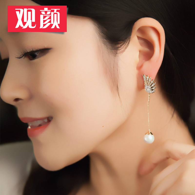 By yan pearl earrings female korean fashion jewelry earrings pierced earrings without ear clip earrings free shipping
