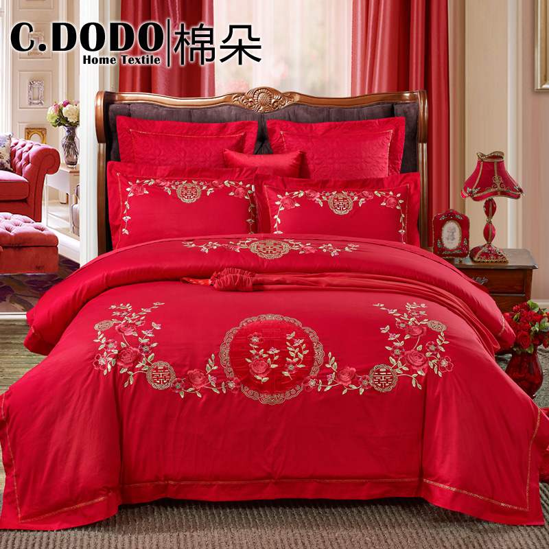 C. dodo/cotton flower cotton double suite luxury embroidered big red wedding wedding bedding a family of four