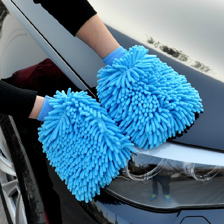 Cache gloves wash mitt sided coral plush chenille glove car cleaning supplies
