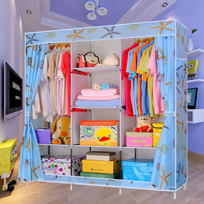Caddy simple wardrobe oxford cloth wardrobe closet folding steel reinforcement dust cloth wardrobe closet queen assembled dormitory housing