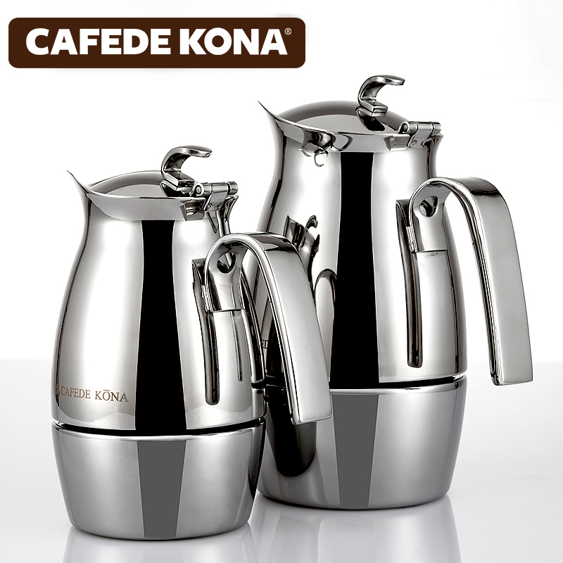 Cafede kona classic italian italian moka coffee pot stainless steel duckbill thickened household coffee makers