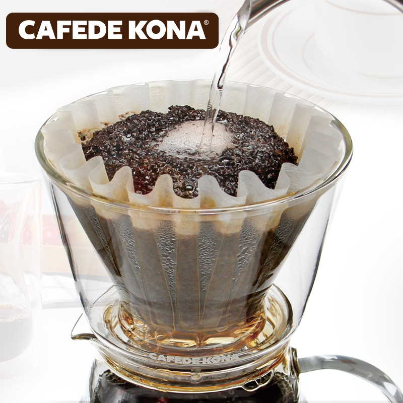 Cafede kona double against hot glass drip drip coffee filter coffee filter cup hand punch filter cup